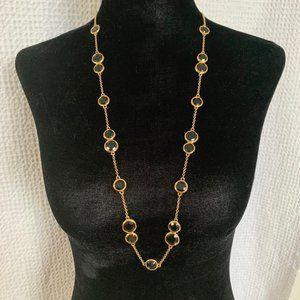 Kate Spade Crystal Gold & Black Bezel Necklace